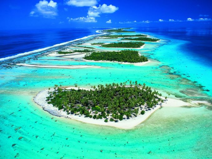 The motus of the Rangiroa atoll in French Polynesia, Pacific Ocean