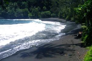 Black sand beach of Tahiti