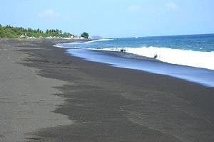 Indonesia gray sand beach