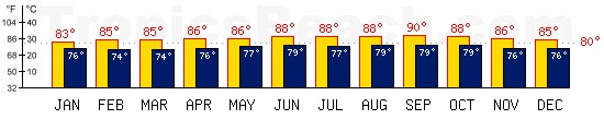Willemstad, CURACAO temperatures. A minimum temperature of 81°F C is recommended for the beach!